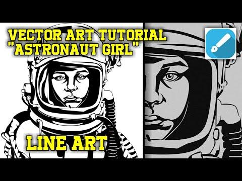 "VECTOR ART TUTORIAL ""ASTRONAUT GIRL"" LINE ART || INFINITE DESIGN ~SPEEDART thumbnail"