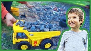 Toy Dump Truck Dozer and Skid-Steer Clean Up Gravel