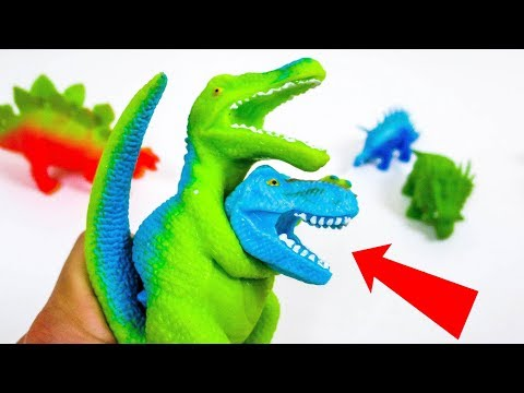 Dinosaur Parasite #5! Cutting Open Squishy Dinosaur Toys Mecard Collection Slime! What's Inside??