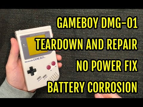 Game Boy DMG Repair Teardown - No power fix - Battery contacts corrosion - YouTube