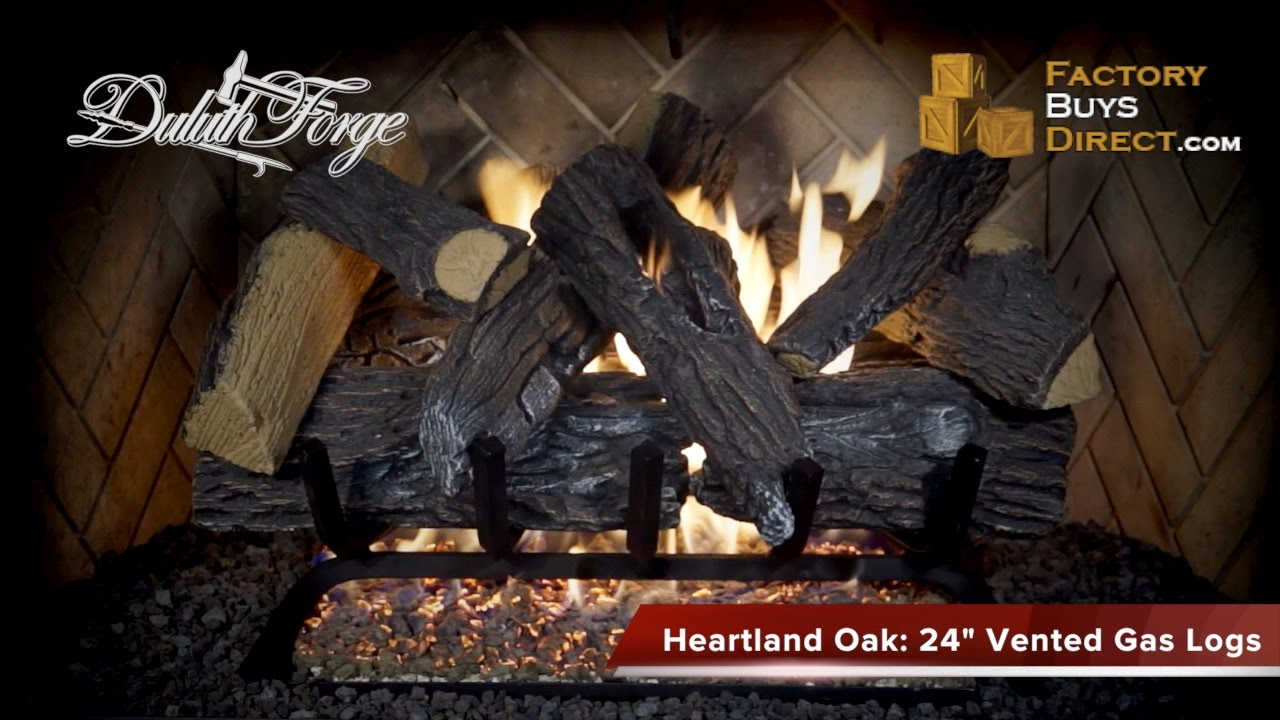 24 inch heartland oak vented gas log set 55 000 btu youtube