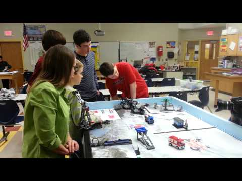 Keene Middle School's Robotics Club works on robot