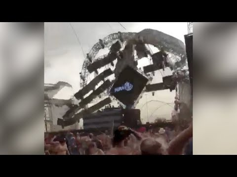 Shocking moment: Stage collapses killing DJ at music festival in Brazil