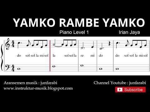 Not Balok Yamko Rambe Yamko - Piano Level 1 - Lagu Daerah Irian Jaya / Papua - Do Re Mi / Solmisasi