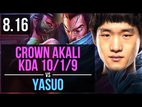 GEN Crown - AKALI vs YASUO (MID) ~ KDA 10/1/9, Legendary ~ Korea Challenger ~ Patch 8.16