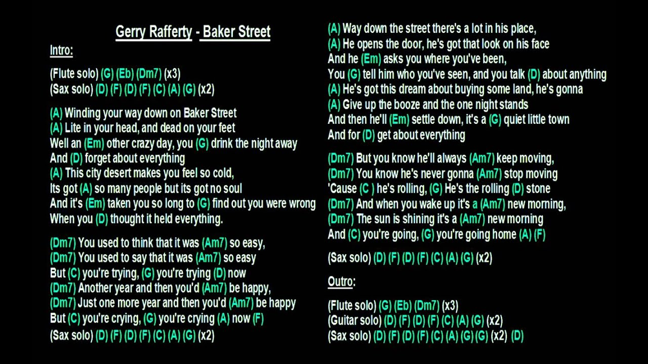 Gerry Rafferty Baker Street Backing Track With Guitar Chords And