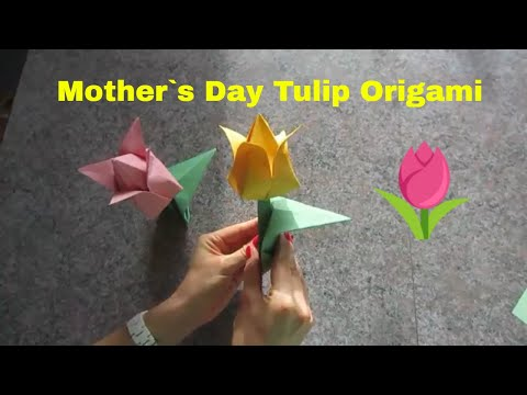 Mother`s Day Tulip Origami Tutorial 5 minute crafts