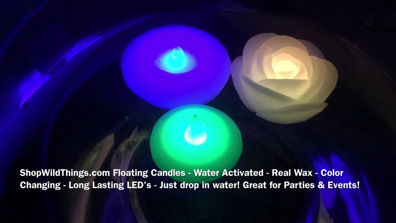 ShopWildThings Floating Wax Candles - LED - Color Changing & Water Activated