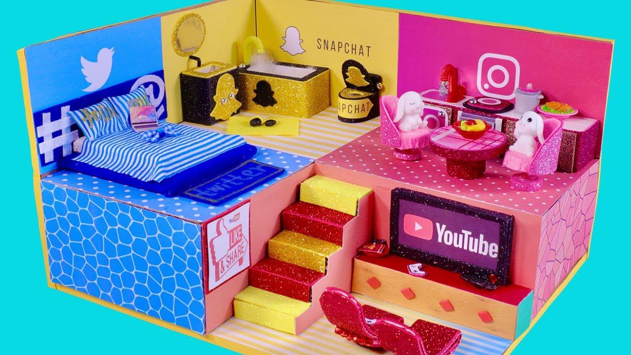 DIY Miniature Cardboard House -Social Media Miniature House Feature Twitter, Snapchat, Youtube Theme