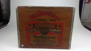 Vintage Anheuser Busch Budweiser Lidded Wood Storage Crate - 14.125 Inc Tall