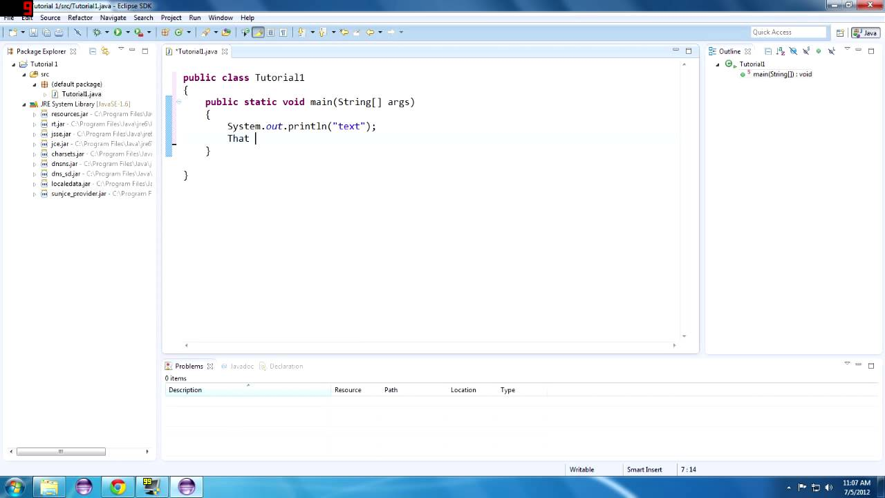 Java tutorial 1 hello java getting started with eclipse youtube baditri Choice Image