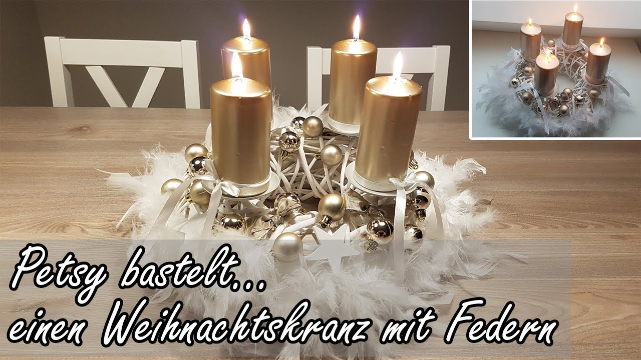 Diy Schneller Und Günstiger Adventskranz Mit Federn Advent Wreath