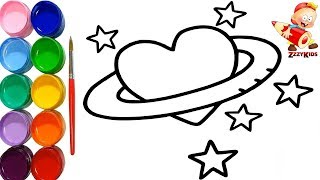 Heart Colouring Page - Learn How to Draw a Heart with Stars - Learn Colours For Children