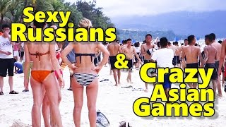 Filipina Life with Nice Russians Funny Beach Games Boracay Philippines