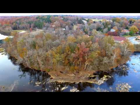 Saxapahaw, NC from over the Haw river in late fall 2016.  DJI Phantom 3 Standard Drone.