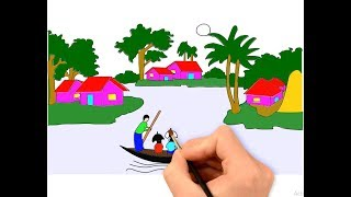 how to  drawing village scenery drawing for kids drawing symbols drawing choice