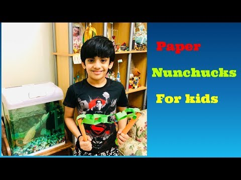 How to make a Paper Nunchucks for kids - Easy Paper Ninja weapon