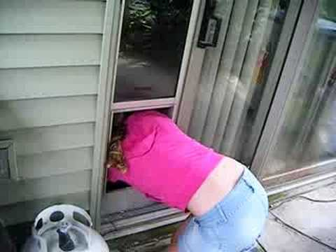 Girl stuck in dog door