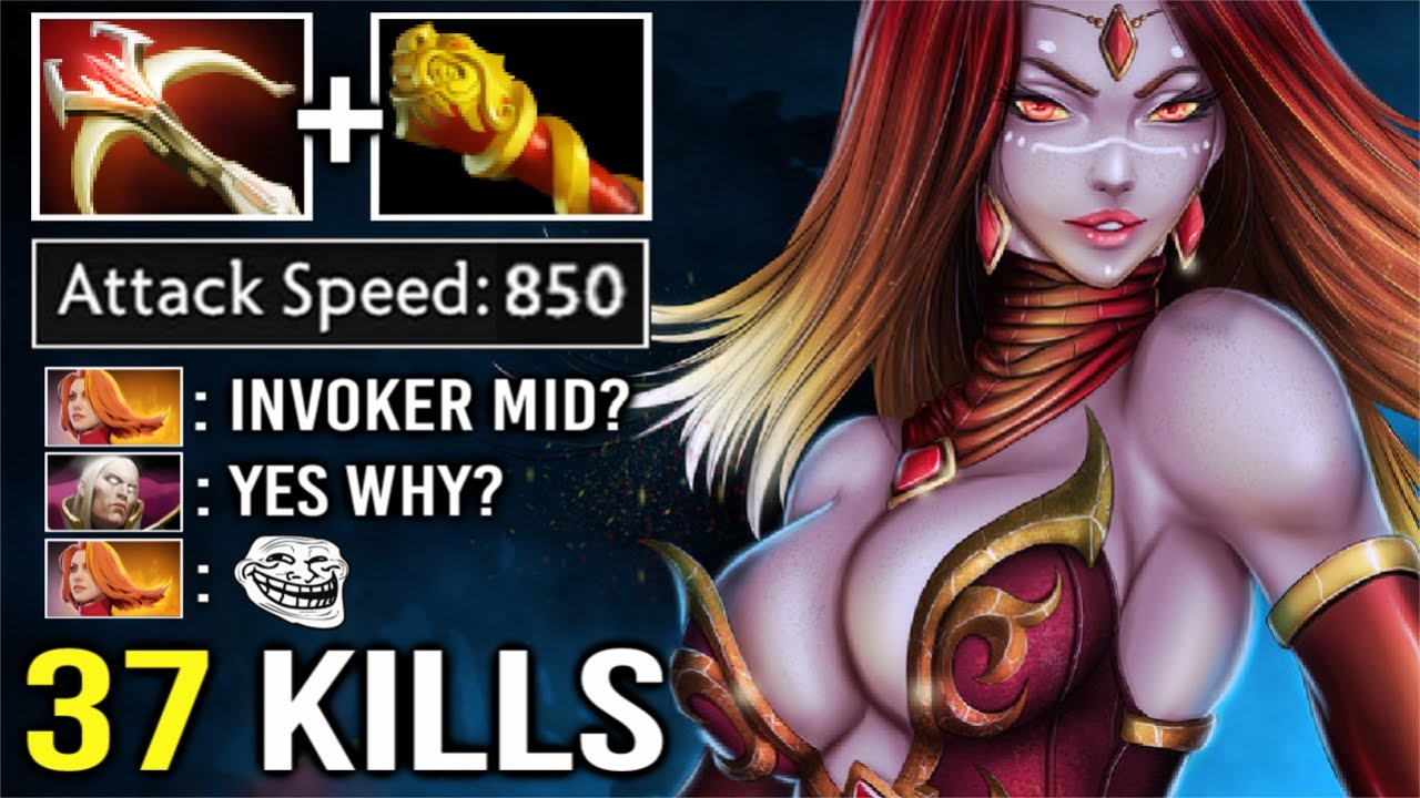 WTF CRAZY FAST Lina Mid vs Invoker + PA Max Attack Speed 37 Kills Epic Gameplay New Meta Dota 2