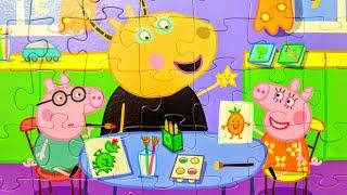Свинка Пеппа и Джордж в Школе - Собираем пазлы для детей Peppa pig | Dasha Kids