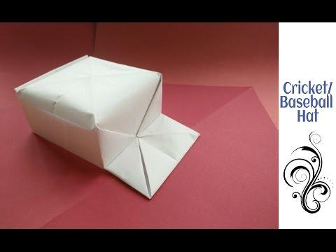 "Origami Paper ""Cricket / Baseball Hat"" - (A4 sheet)"