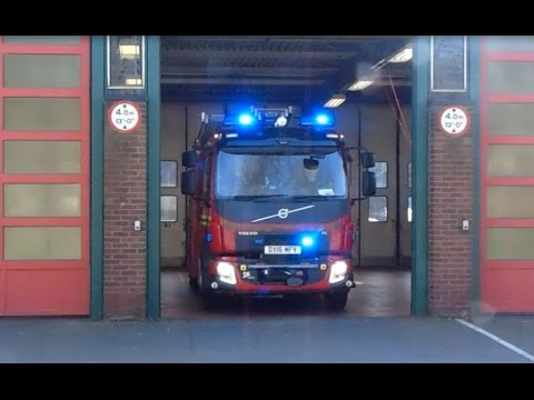 West Midlands Fire Service New Volvo Rescue Pump Turning Out From Wolverhampton Fire Station