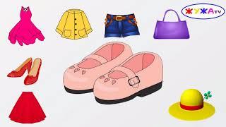 Что носят девочки? Учим названия одежды Мультик для самых маленьких