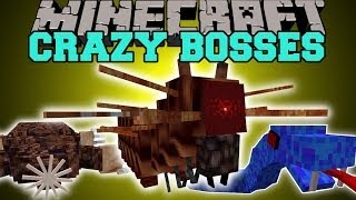 Minecraft: CRAZY BOSSES (SEA MONSTERS, KILLER CATERPILLARS, & MORE!) Mod Showcase