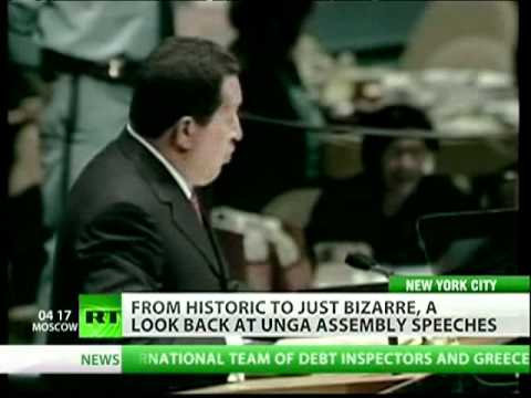 Chavez singing, Khruschev banging shoe  best in UN history