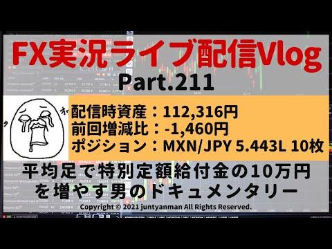 【FX実況ライブ配信Vlog】平均足で特別定額給付金の10万円を増やす男のドキュメンタリーPart.211