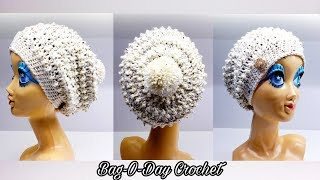 How To Crochet a Slouchy Beanie Hat | Poppy Seed Beanie | BAGODAY CROCHET TUTORIAL #513