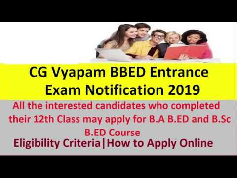 CG Vyapam BBED Entrance Exam Notification 2019 Released