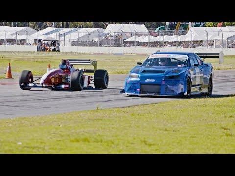THE SHOWDOWN! 1000hp R34 GTR vs F1 car - ROLL RACE! At the Adelaide Motorsport Festival