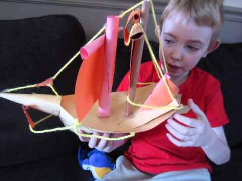Papercraft Paper Model Ship made by 6-year-old
