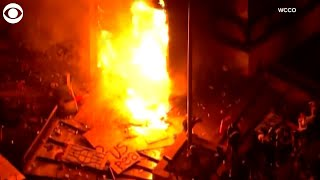 WEB EXTRA Minneapolis Police Precinct Set On Fire By Protesters