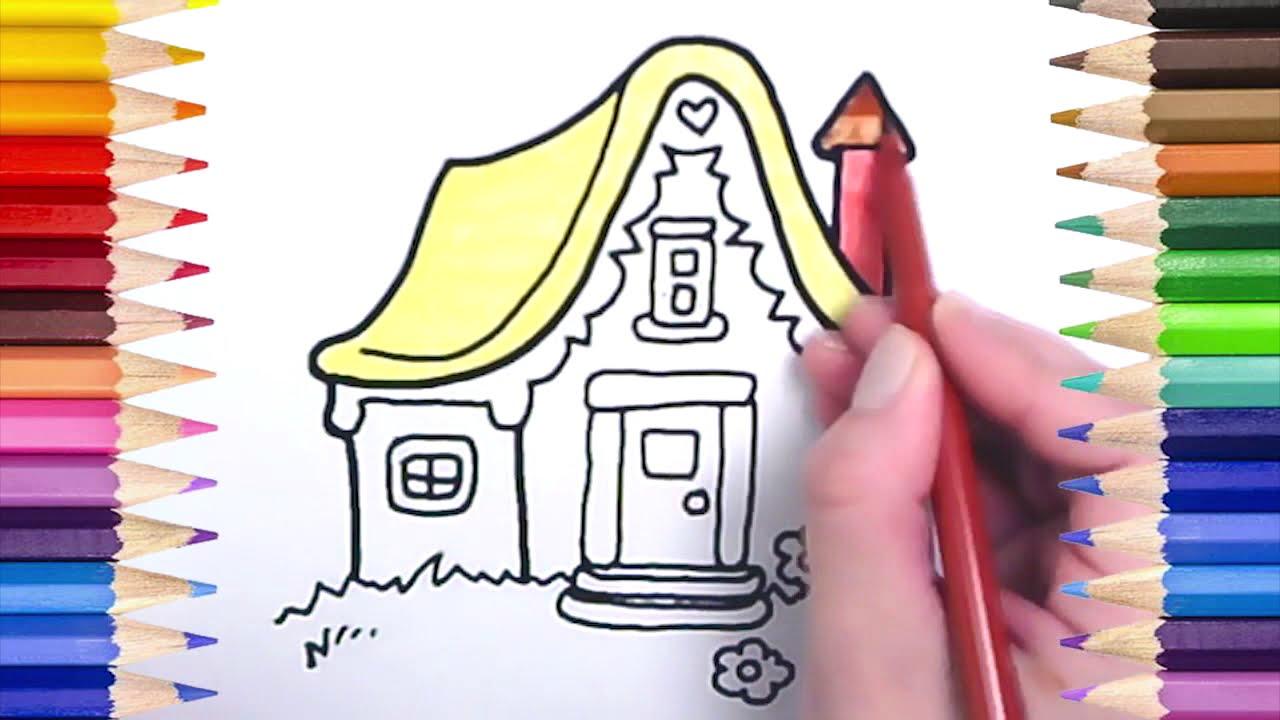 çocuklar Için Boyama Kağıdı şirin Ev Resmiçizimi çocuklar Için