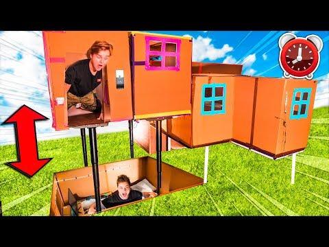24 Hour BILLIONAIRE BOX FORT ELEVATOR CHALLENGE! Working Elevator, Gaming Room & More!