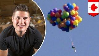 Pria menerbangkan kursi dengan balon ke atas kota, terkena denda - Tomonews