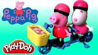 Play Doh Peppa Pig Riding Bike with Suzy Sheep Playing in Playdough Muddy Puddles Peek n Surprise
