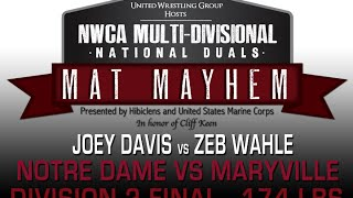 174 Joey Davis v Zeb Wahle - 2015 NWCA Multi-Divisional Duals - D2 FINAL