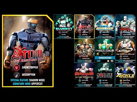 Real Steel WRB ATOM VS BEATDOWN ATOM & Bluebot & TACKLE & NITRO & SARGE & Shogun & Axelrod