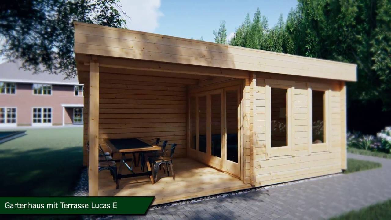 modernes gartenhaus mit terrasse lucas e 9m youtube. Black Bedroom Furniture Sets. Home Design Ideas