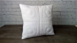 A Cushion Cover Using The Eye Spy Trapunto Feather Quilt Block - From Kreative Kiwi