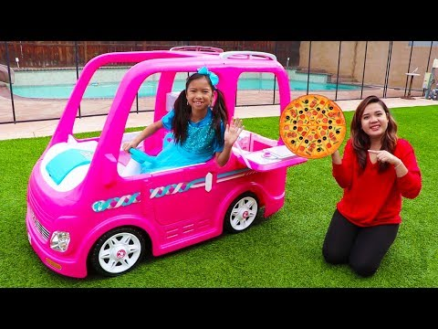 Wendy Pretend Play Food Delivery w/ Pink Barbie Food Truck Car Toy