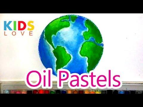 วาดระบายสีรูปโลก How to color  Earth with oil pastels l Kids love