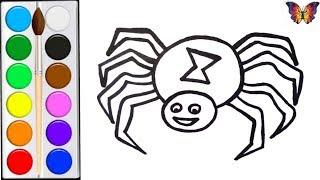 Как нарисовать ПАУКА /  раскраска ПАУК ИГРУШКА  для детей / Раскраски малышам