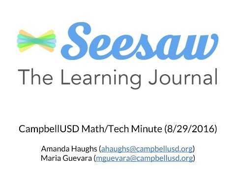 Math/Tech Minute: Seesaw, The Learning Journal app