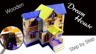 Colorful Dream House | How to make popsicle stick house | Diy popsicle stick crafts house -Step/Step