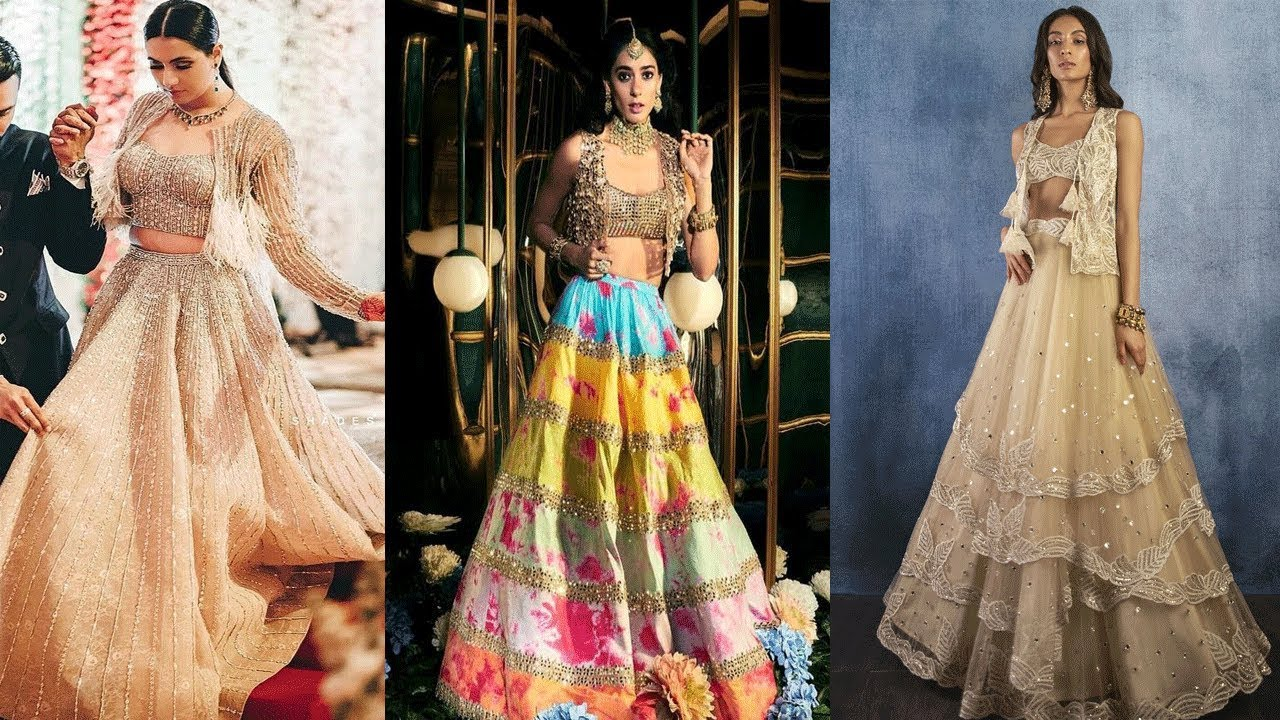 Style Lehenga With Koti Jacket Crop Top Lehenga Designs Ideas Jacket Style Crop Top Blouse Designs Youtube