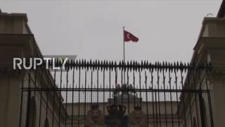 Turkey  Dutch flag swapped for Turkish flag at Dutch consulate, Istanbul, as tensions mount